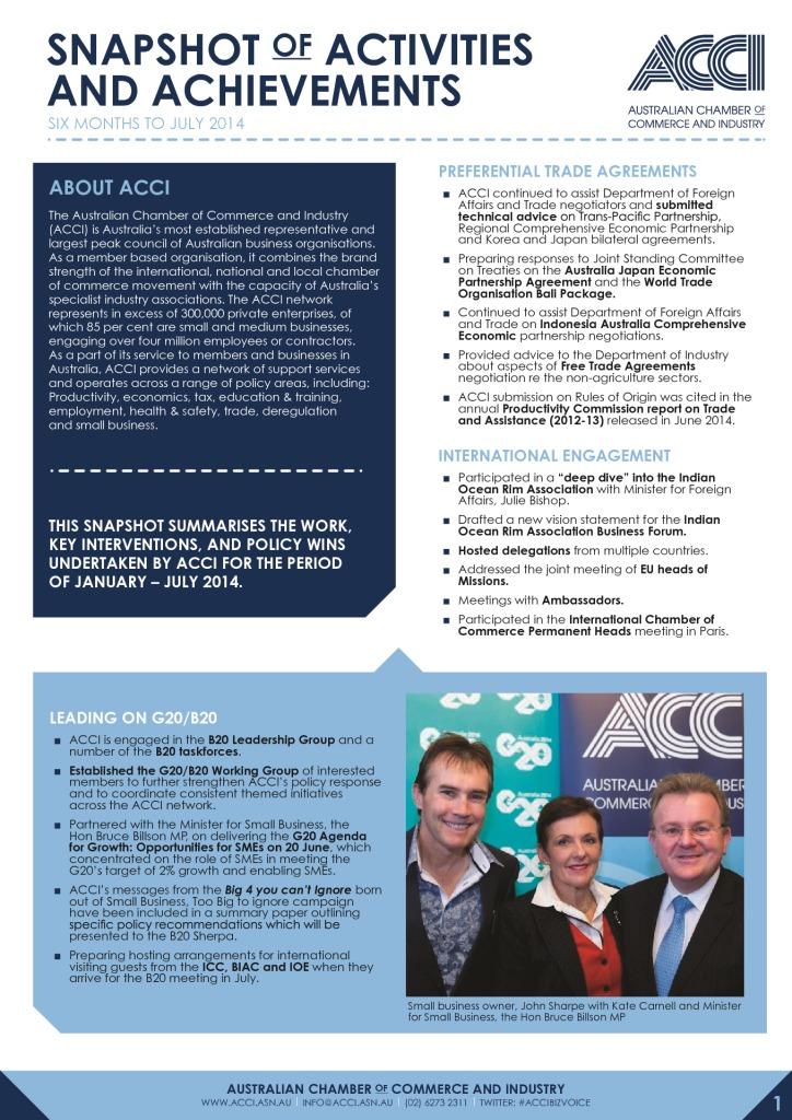Australian Chamber of Commerce and IndustryActivities