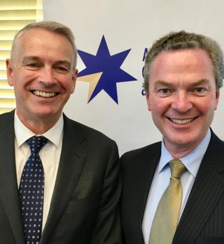 Minister Pyne and Chris Jenkins, Country Director and Chief Executive Officer, Thales Australia